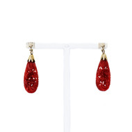 1950 Natural Red Carved Coral Earrings GIA Certified 14k Gold