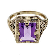 Antique Art Deco 2.75ct Emerald Cut Amethyst 14k White Gold Filigree Ring