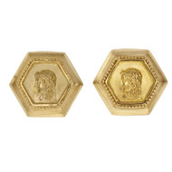 Seidengang Athena Hexagon Cuff Links 18k Yellow Gold