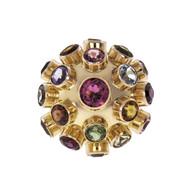 Sputnik Dome Ring Multi-Color Gemstones 18k Rose Pink Gold