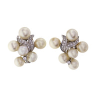Vintage 1950 Cultured Pearl Diamond Swirl Flower Earrings 14k White Gold