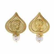 Seidengang Pearl Diamond 18k Yellow Gold Clip Post Earrings