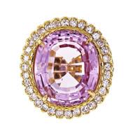 Bright Pink 19.30ct Oval Kunzite Ring 18k Gold Diamond Halo