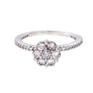 Diamond Cluster Engagement Ring .52ct 14k White Gold