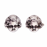 Cherub Profile Cuff Links Circa 1930 Sterling Silver