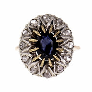 Early Victorian 1850 Natural Sapphire Ring Rose Cut Diamonds GIA Certified