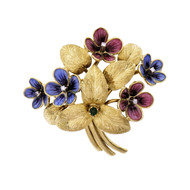 Cartier Enamel Gold Emerald Diamond Flower Brooch