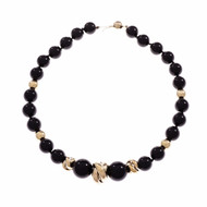 Black Onyx Graduated Bead Necklace 14k Gold & Round Beads