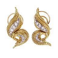 1960s Swirl Diamond Yellow Gold Clip Post Earrings