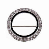 Art Deco 1920 Diamond Onyx Circle Pin Platinum Old European Cut