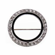 Art Deco 1920 Diamond Onyx Circle Pin Platinum Old European Cut