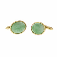 Natural Jadeite Jade Oval Green Cuff Links FTC 14k Yellow Gold