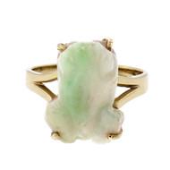 Natural Jade Carved Frog Ring 14k Gold GIA Certified