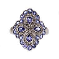 Iolite Diamond Cocktail Ring 14k White Gold