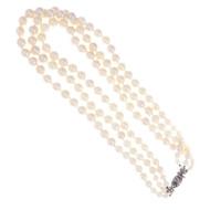Art Deco 3 Strand Graduated Cultured Pearl Necklace 18k Diamond Catch 9 – 6mm