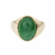 Men's Or Ladies Natural Jadeite Jade Ring GIA Certified 14k Gold