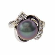 Black South Sea Cultured Pearl Ring 14k White Gold Diamond