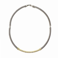 David Yurman Diamond Necklace Silver 14k Gold Metro