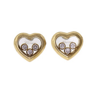 Chopard Heart Shape Happy Diamond Earrings 18k Yellow Gold