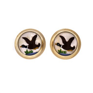 Reverse Carved Hand Painted Quartz Cuff Links Duck 14k Yellow Gold