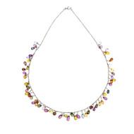 Multi-Color Genuine Briolette Sapphire 55.00ct Necklace 18k White Gold
