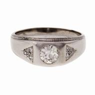 Men's Vintage 1940 Diamond Ring 0.72ct Platinum EGL Certified