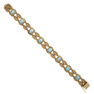 Natural Turquoise Vintage 1950 Bracelet 14k Yellow Gold Mesh