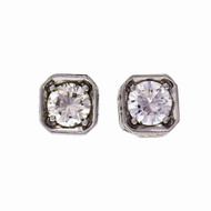 Peter Suchy 8-Sided Engraved Diamond Earrings 0.99ct Deco Style 18k White Gold