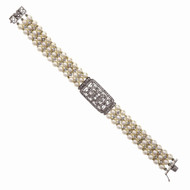 Three Row Cultured Pearl Diamond Bracelet 18k White Gold
