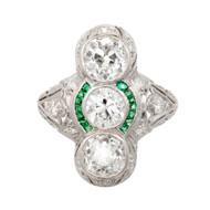 Art Deco Vintage 2.77ct 3 Diamond Emerald Platinum Ring
