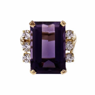 12.25ct Emerald Cut Amethyst & Diamond 14k Yellow Gold Cocktail Ring