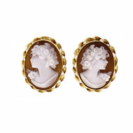18k Yellow Gold Cameo Clip Post Earrings