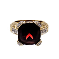 9.00ct Garnet Diamond 2-Tone 14k Gold Cocktail Ring