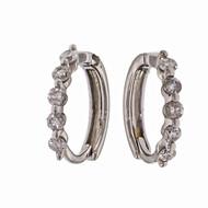 14k White Gold Diamond Huggie Hoop Earrings