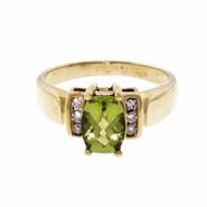 1.25ct Peridot & Diamond 10k Yellow Gold Engagement Ring