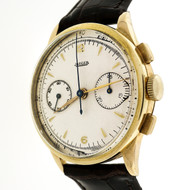 1950 To 1960 Jager 18k Yellow Gold Large Size Chronograph