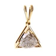 Trillion Cut Diamond Triangle Pendant 0.55ct 14k Yellow Gold