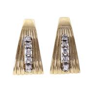Vintage 1960 Fan Shape Diamond Earrings 14k Yellow Gold