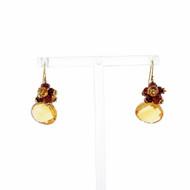 Citrine Garnet Briolette Cut Dangle Earrings 18k Yellow Gold