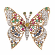 Diamond Peridot Emeralds Ruby Sapphire Gold Butterfly Brooch