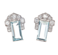 3.40 Carat Aqua Diamond Art Deco Cluster Earrings