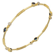 1.79 Carat Sapphire Diamond Yellow Gold Bangle Bracelet