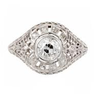 GIA Certified Edwardian Old European Rose Cut Diamond Platinum Engagement Ring