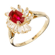.88 Oval Ruby Diamond Halo Gold Engagement Ring