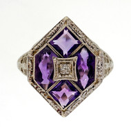 Antique Art Deco 14k White Gold Filigree 1.30ct Amethyst Diamond Ring