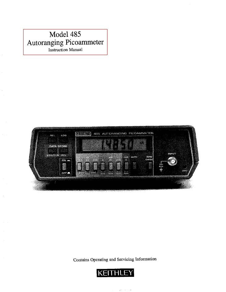 485 Autoranging Picoammeter Instruction Manual Keithley