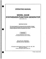 3325B Synthesizer/Function Generator, Operating Manual | HP Agilent Keysight