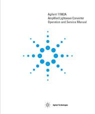 11982A Amplified Lightwave Converter, Operation and Service Manual | HP Agilent Keysight