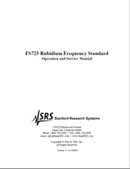 FS725 Rubidium Frequency Standard, Operation & Service Manual | Stanford Research