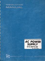 AC Power Supply 016-0072-00, Instruction Manual   Tektronix